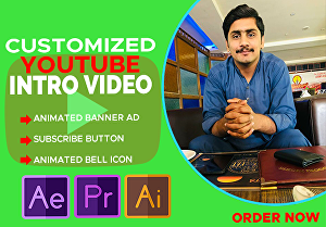 I will make a custom, animated youtube intro and outro or banner ads in 4k