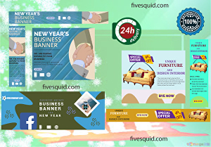 I will design modern web banner ads,fb cover, posts for google, insta etc in 24h