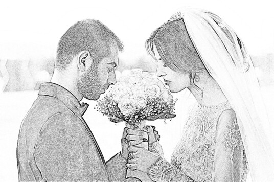 make pencil sketch of your couple photo for valentine's gift