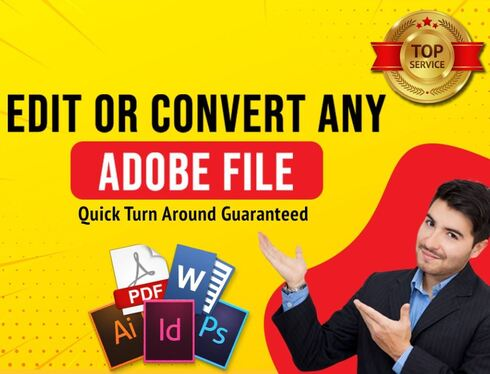 convert AI PSD PDF EPS Indesign Illustrator Photoshop files
