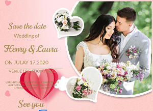 I will design a luxury wedding invitation card in 24 hours