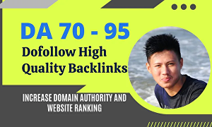 I will build Dofollow High Quality backlinks DR 80 to 99