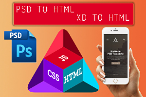 I will convert psd to html, xd to html or bootstrap 4  responsive design