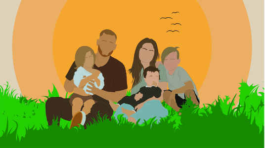 draw a Minimalist Faceless Digital Portrait of your family, loved ones, couples
