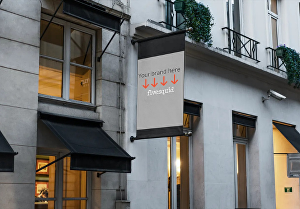 I will create a photo of a stunning Belgravia shop sign with your logo on it
