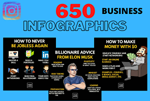 I will design 650 Instagram business infographics quotes for Instagram