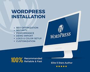 I will install WordPress, setup theme customization, and import demo