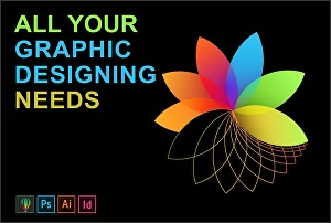 I will create awesome graphics designs in adobe illustrator InDesign and adobe photoshop