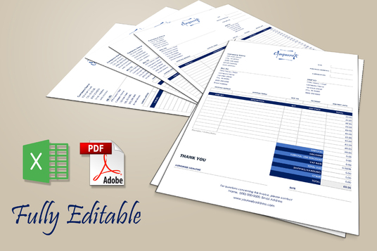 create editable invoice or order form, Excel, interactive PDF