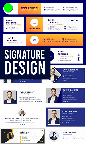 I will design modern clickable HTML email signature graphic design