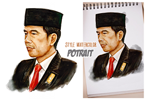 I will draw your portrait in watercolor