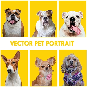 I will draw amazing vector pet portrait from your pet photo