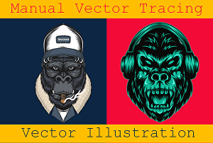 I will do manual vector tracing, vector illustration for you