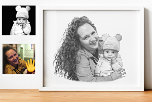 I will draw custom pencil portrait combining pictures together
