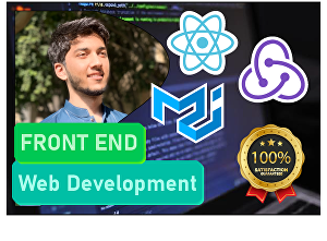 I will develop web app front end with react js, css, material UI, redux