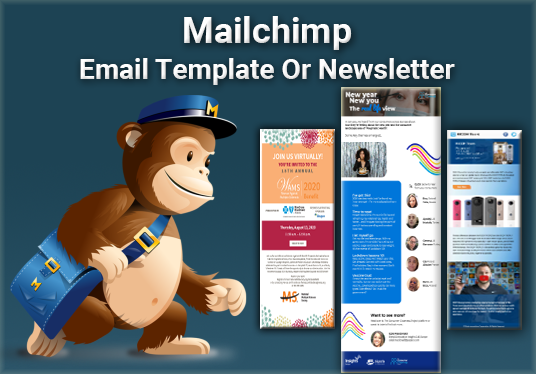 Design Mailchimp Responsive HTML Email Template or Newsletter