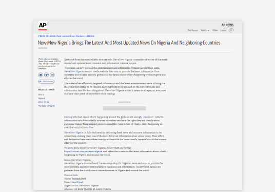 publish and distribute your press release to AP News and 500+ Top Ranking media sites