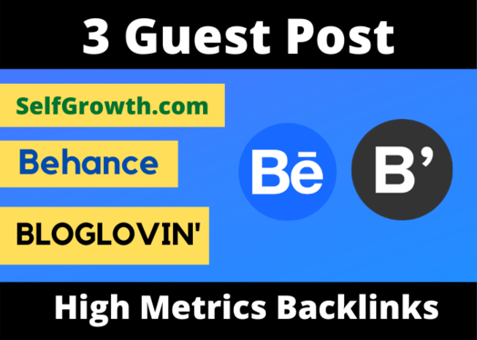 Write And Publish 3 Guest post on Behance, Selfgrowth, BlogLovin