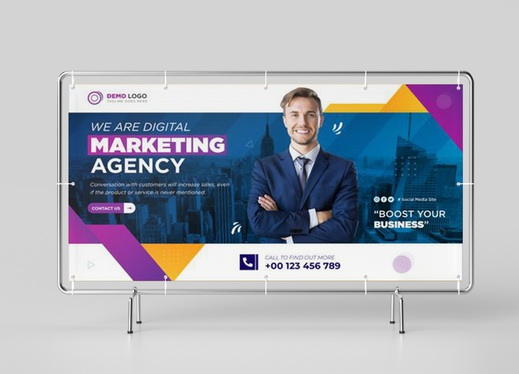 design professional outdoor roll up banner or billboard or yard sign