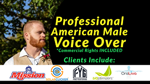I will record a believable, conversational American male voice over