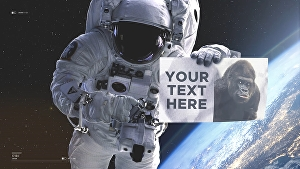 I will make astronaut hold your text, picture, or logo