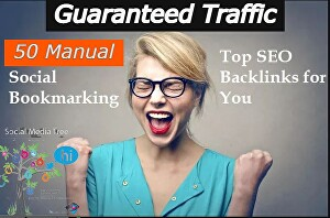 I will do 50 HQ manual social bookmarking top seo back links for Your Website