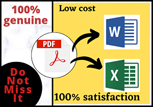 I will Convert PDF files into Word documents and Excel sheets