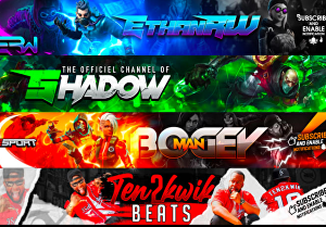 I will create a gaming banner for YouTube
