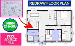 I will draw or redraw 2d architectural drawing,floor plan,house plan,pdf to dwg,autocad within 24