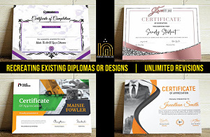 I will do professional certificate, award certificate and diploma certificate design