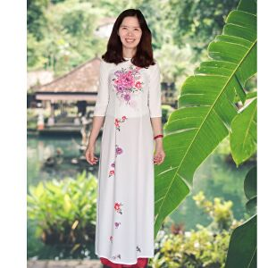 I will be your spokesperson with my Vietnam traditional clothes, natural background