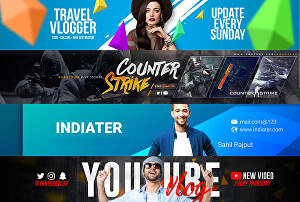 I will design creative youtube channel art or banner and logo