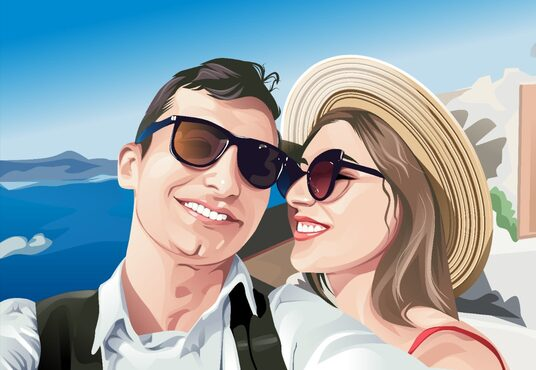 draw couple, family or group to vector cartoon portrait