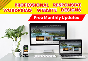 I will design a Professional and Responsive WordPress Website with free monthly updates