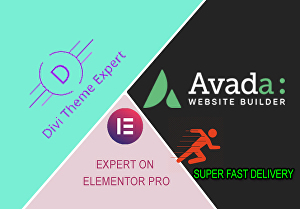 I will design and customize Avada, Divi theme, and elementor pro