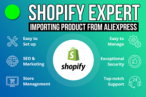 I will import products from aliexpress to your shopify website as shopify website expert
