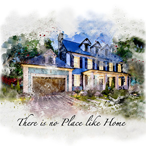 I will make a portrait of your home in my watercolor art style