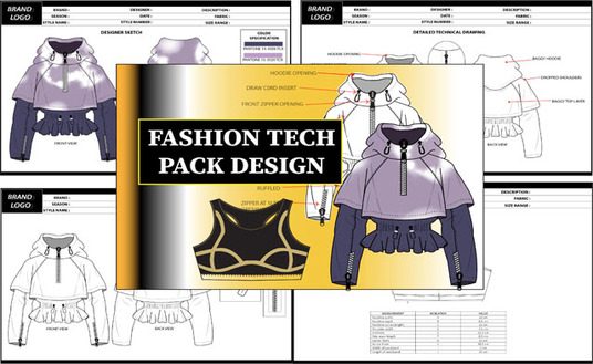 create complete fashion tech pack designs