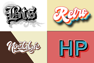 I will design 3d 70s vintage retro typography for logo, t shirt
