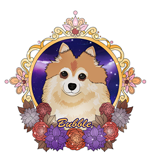 I will make illustration of your dog or cat or another animal pet with a beautiful floral frame