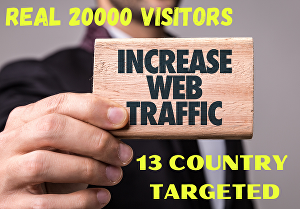 I will give  20k  real organic  web  traffic 13 countries targeted