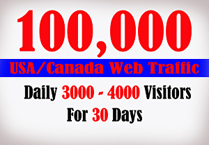 I will send Organic Web Traffic from USA , Canada Visitors for 30 Days