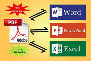 I will convert or alter pdf to word and excel or word to pdf