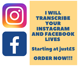 I will dutifully transcribe your Facebook and Instagram Lives