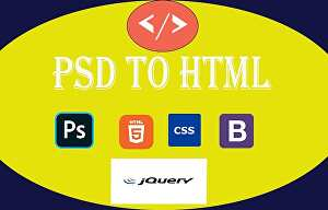 I will build a stunning  layout PSD to HTML, CSS, JavaScript, and responsive website