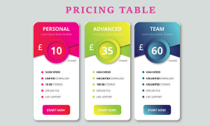 I will design price table for your business