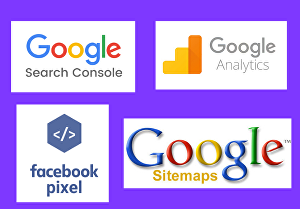I will create setup webmasters, Google Analytics, Facebook pixel, and Sitemaps
