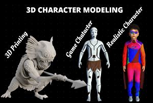 I will create 3d character model, 3d game character, 3d modeling, 3d sculpting, 3dprinting for yo