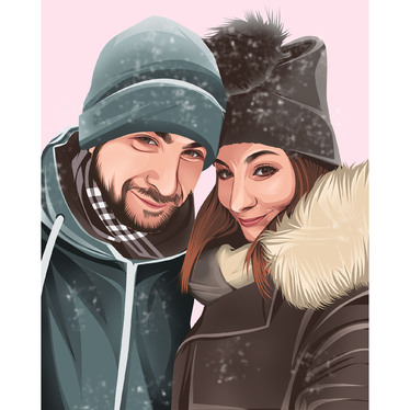 Draw couple portrait illustration from your photo