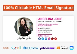 I will create email signature, clickable email signature, HTML email signature for Gmail, Outlook
